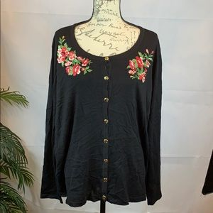 Karen Scott deep black floral cardigan sweater